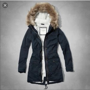 Abercrombie and Fitch navy parka winter jacket